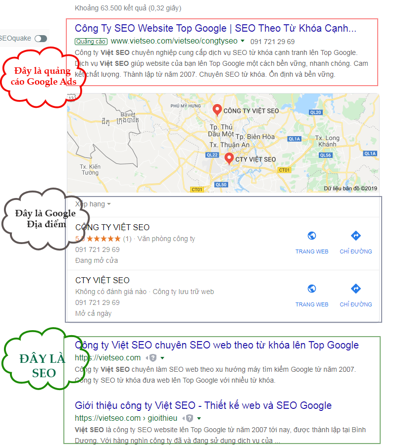 SEO, Google Ads, Map